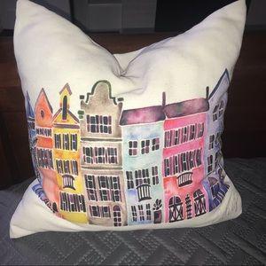 Rainbow Row Charleston, SC Throw Pillow